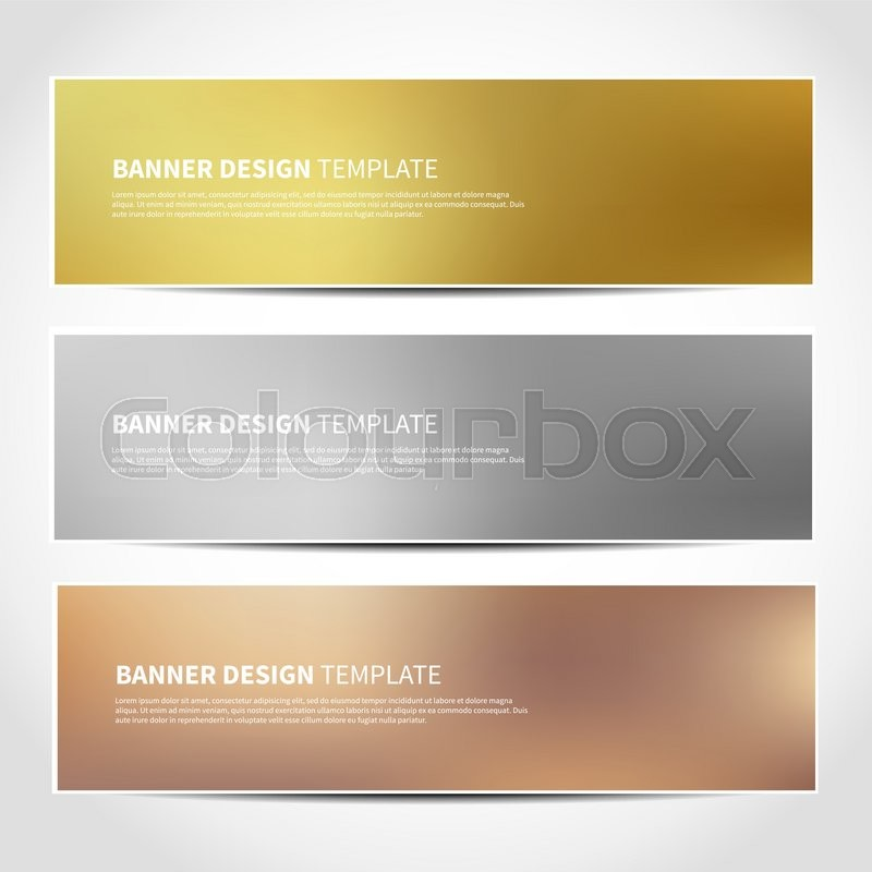 Set Of Gold Silver Bronze Vector Banners Templates Or