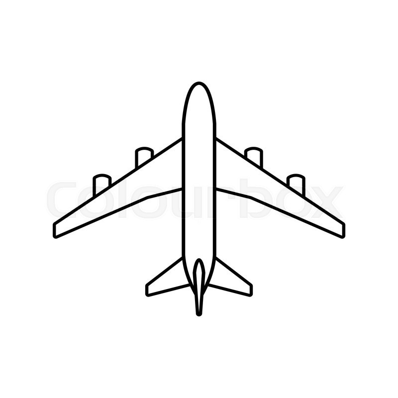 Black plane outline. Simple airplane line icon design