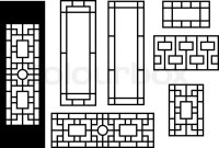 Chinese ornament for door, window, wall and fence, vector ...