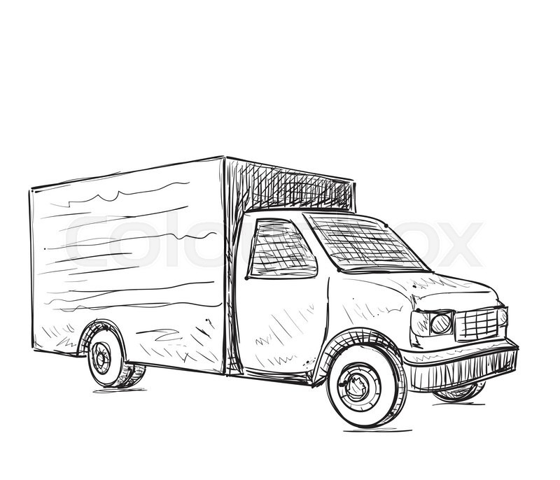 International delivery service. Hand drawn truck sketch