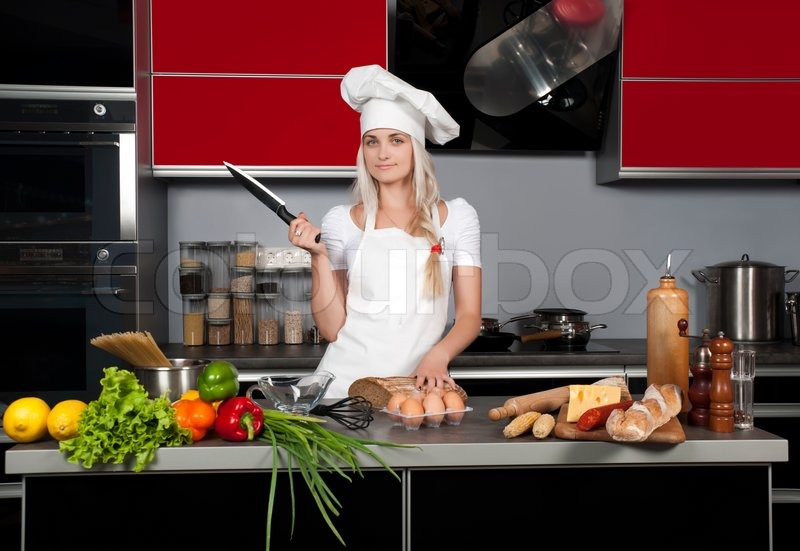 kitchen food preparation table pegasus faucet parts young beautiful girl chef in the with a knife ...