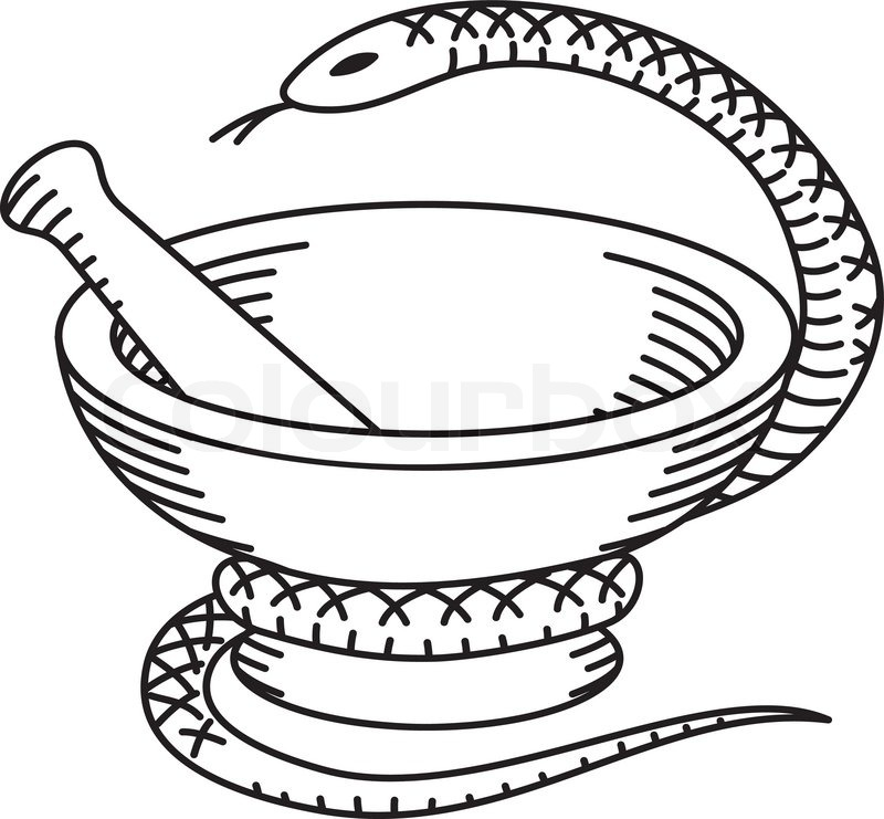 Pharmaceutical mortar, pestle and a snake. Black and white