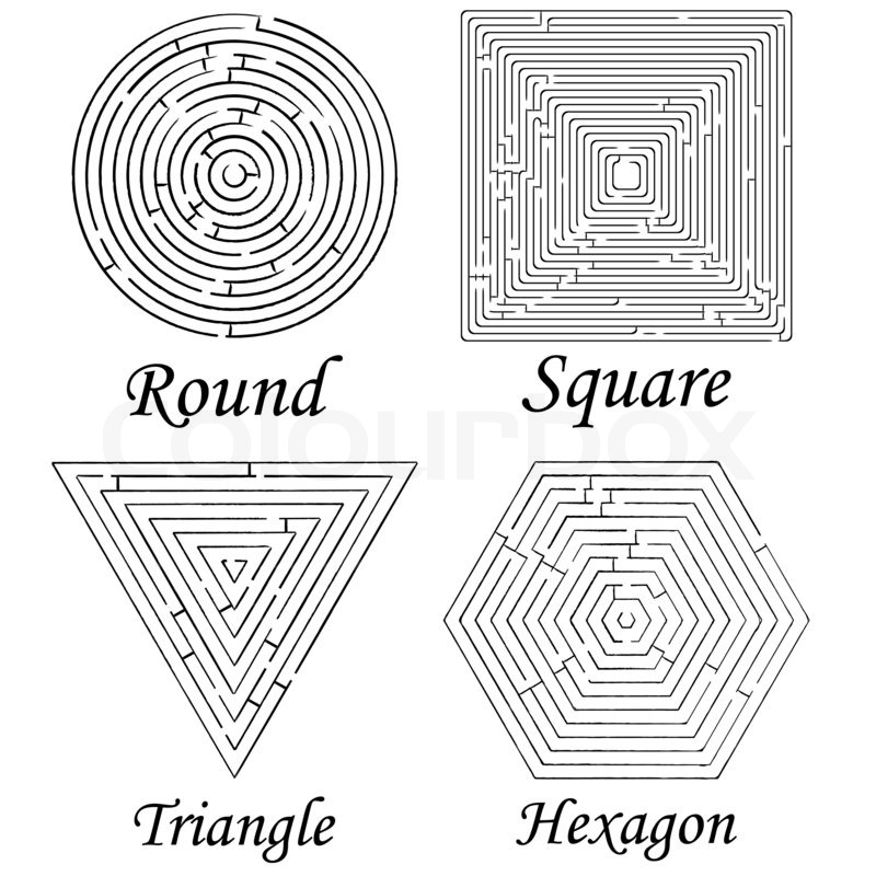 Four mazes shapes against white background, abstract art