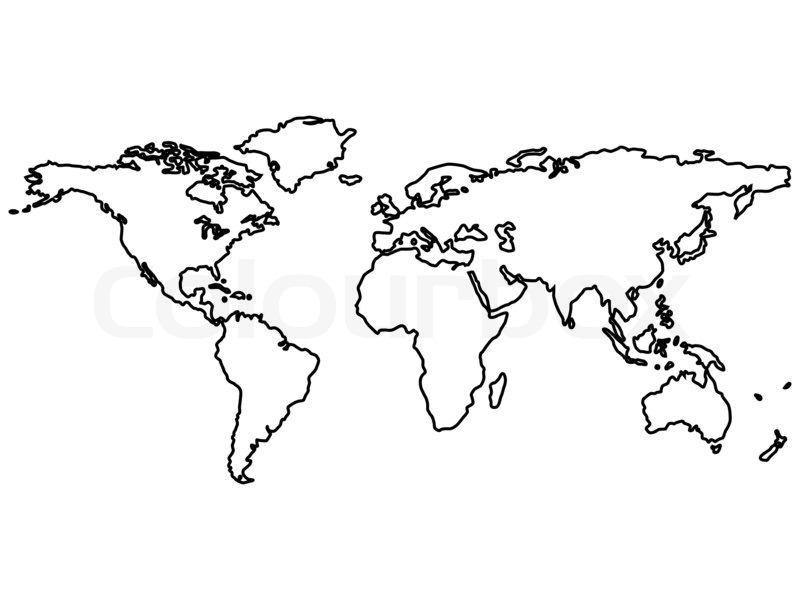 Sort verdenskortet skitserer isoleret på hvidt , abstrakt