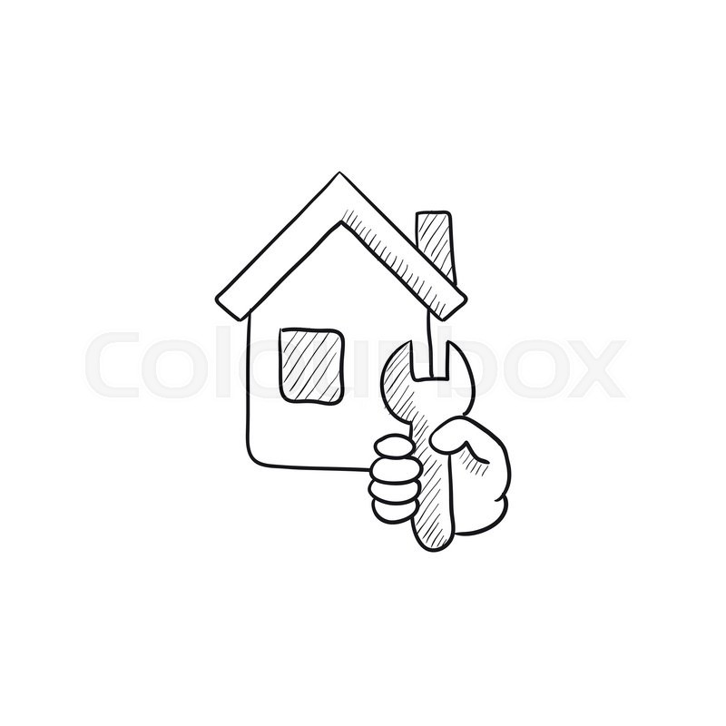 House repair vector sketch icon isolated on background