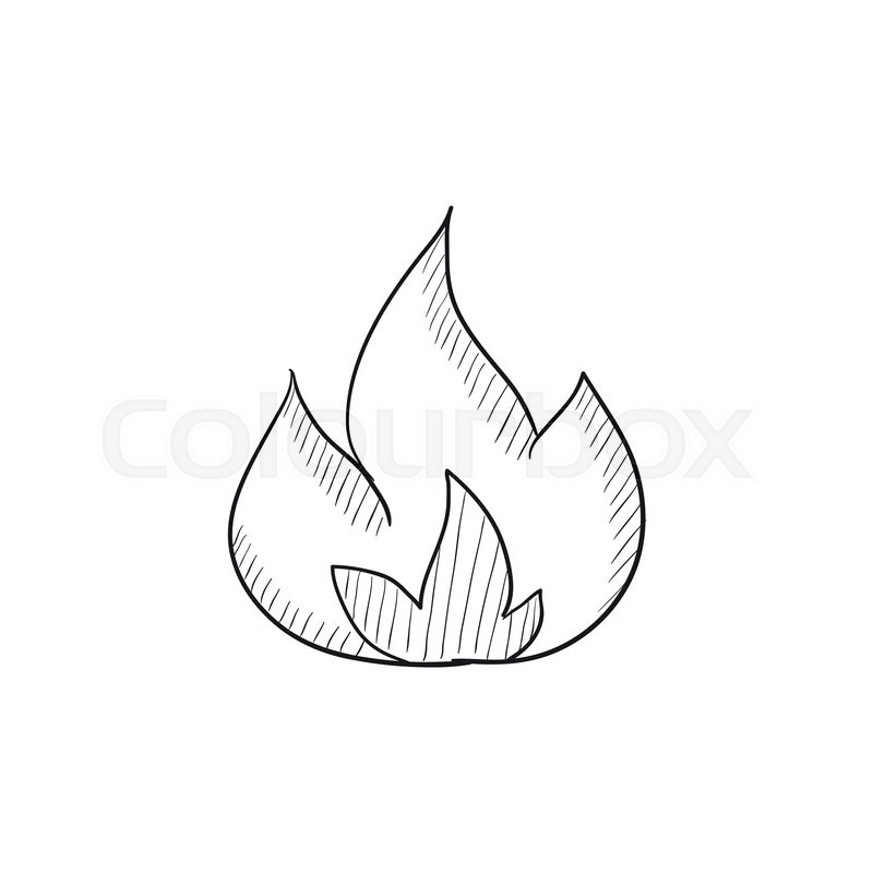 Fire vector sketch icon isolated on background. Hand drawn