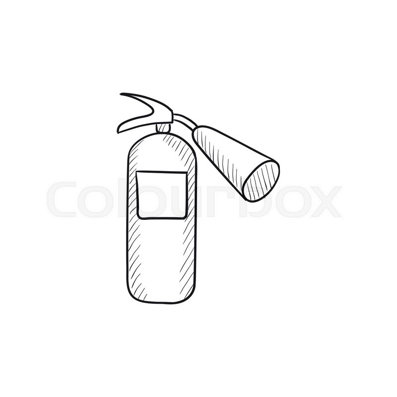 Fire extinguisher vector sketch icon isolated on