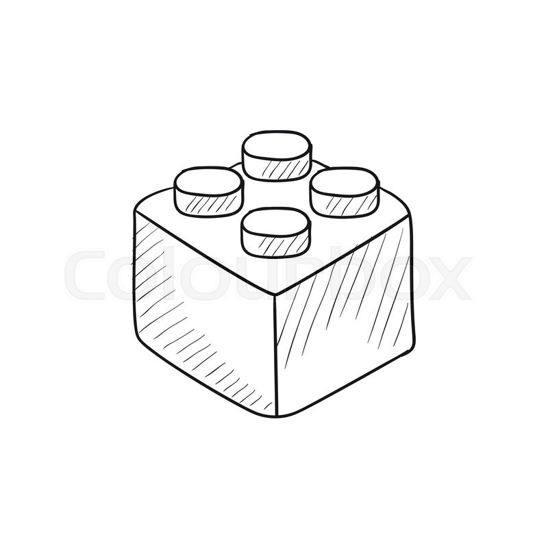 Building block vector sketch icon isolated on background