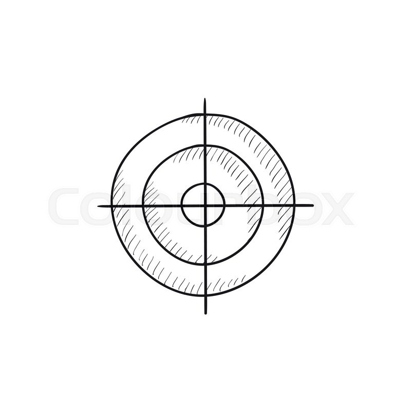 Shooting target vector sketch icon isolated on background