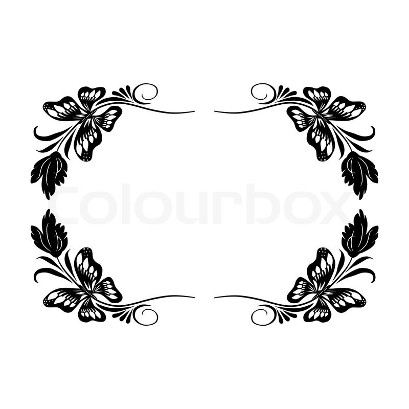 Isolated vintage frame with butterflies and leaves in