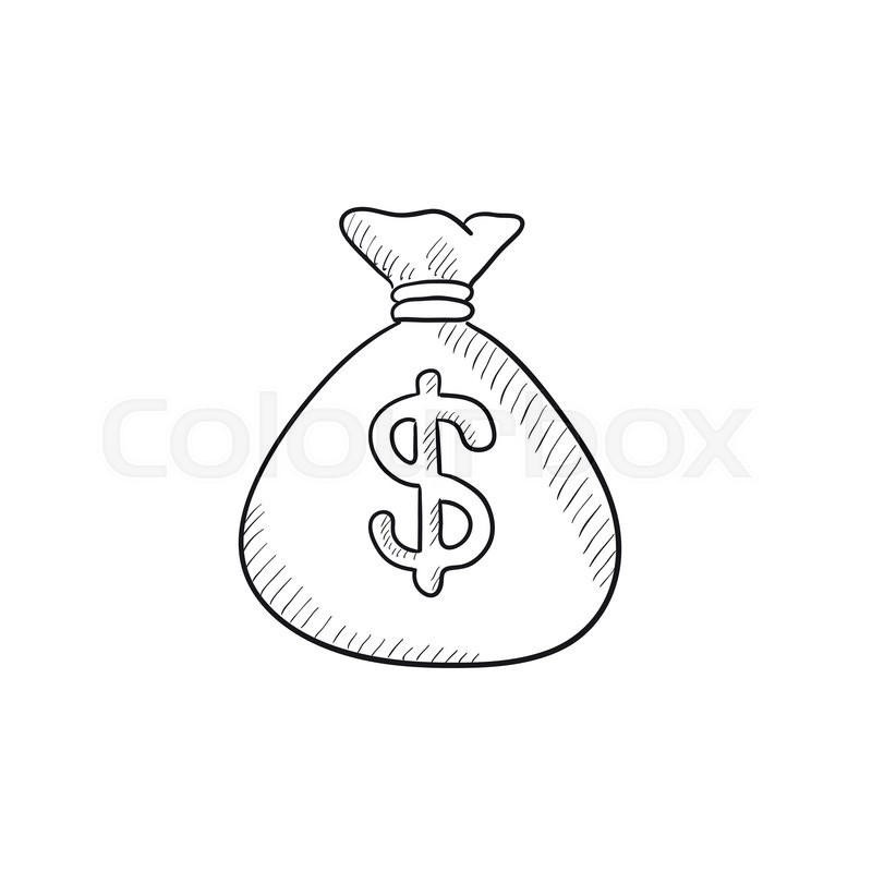 Money bag vector sketch icon isolated on background. Hand