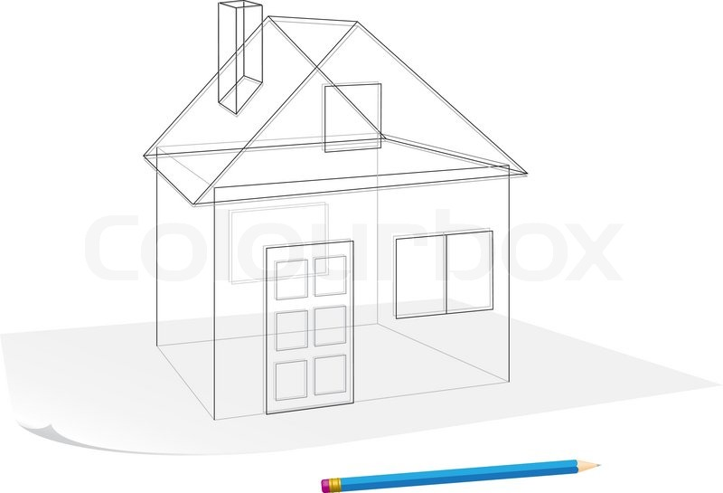 Abstract transparent house sketch drawing with pen on a