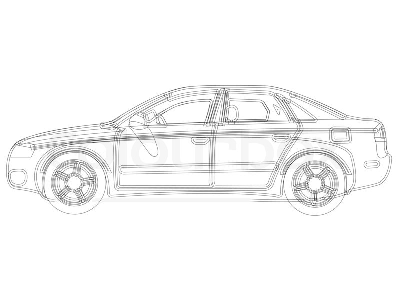 Auto sketch against white background, abstract art