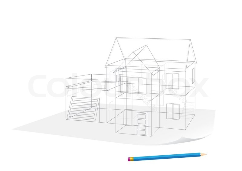 Abstract transparent house sketch drawing with pen on