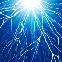 Electric flash of lightning on a dark blue background ...