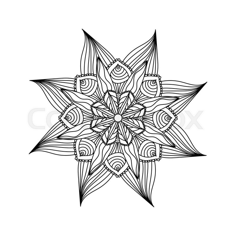 Adult coloring page. Mandala vector Round zentangle for