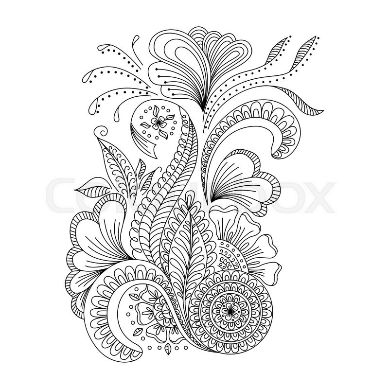 Hand drawn background in doodle or henna style. Design for