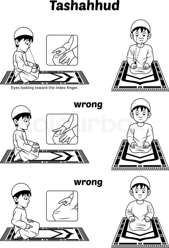 This image is a muslim prayer position guide step by step