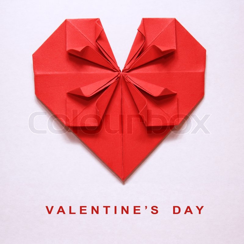 Valentines Day Red Heart Origami Stock Photo