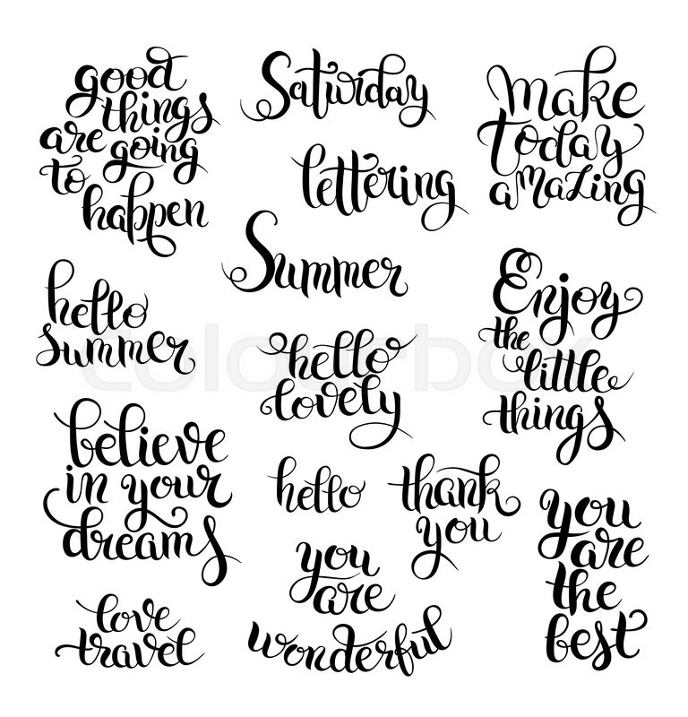 Black and white set of hand written calligraphic lettering