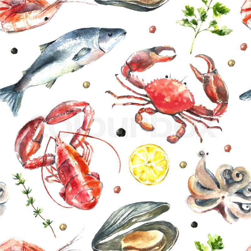 Watercolor pattern of seafoodHand draw isolated