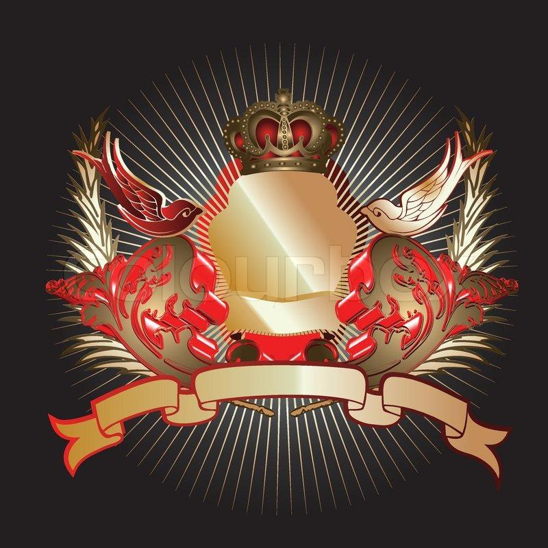 Red Gold 3D Kurven Schild  Vektorgrafik  Colourbox