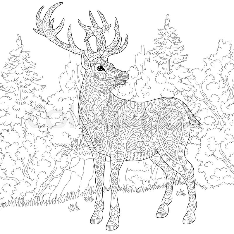 Zentangle stylized cartoon deer (stag, christmas reindeer