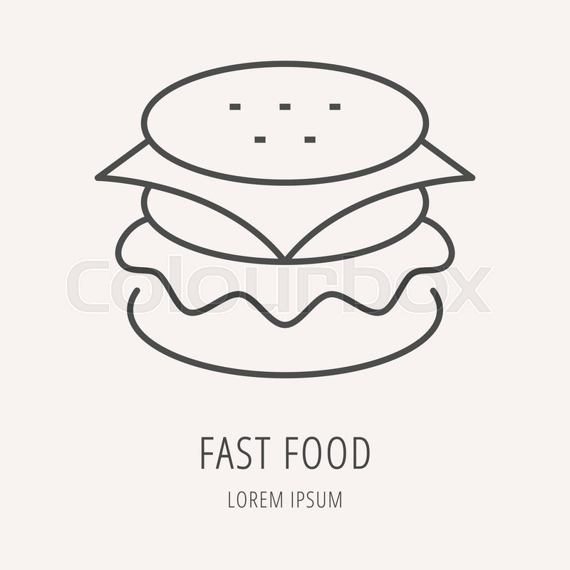 Logo or label meal. Line style logotype template with