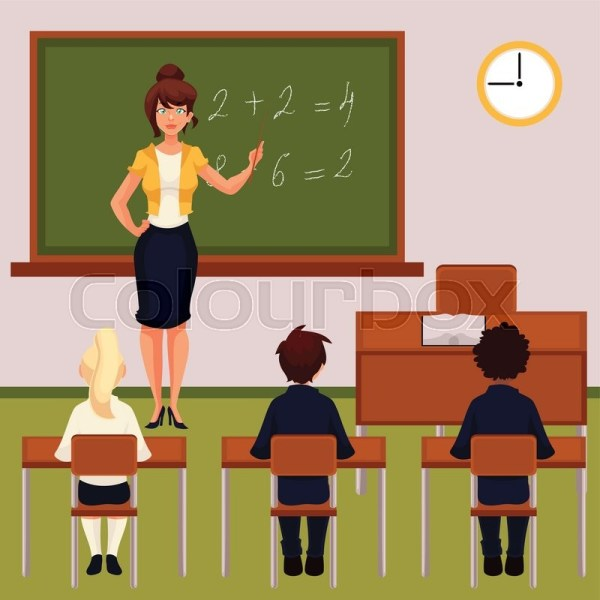 Teacher And Pupils In Classroom . Stock Vector Colourbox