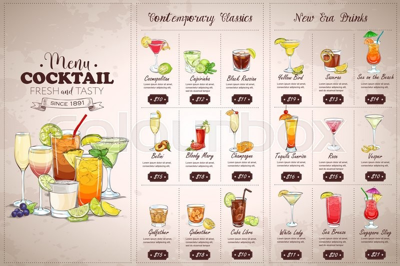 Front Drawing Horisontal Cocktail Menu Design On Vintage Background Stock Vector Colourbox