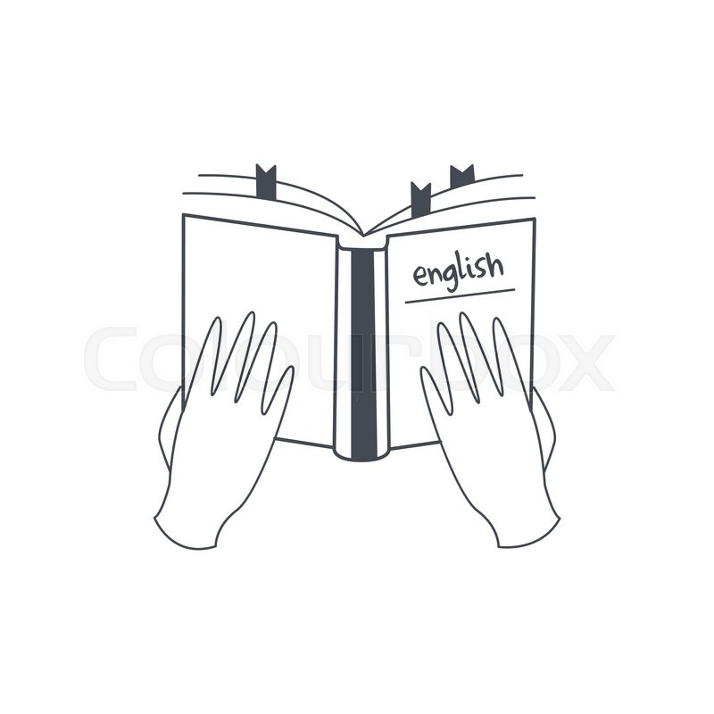 Hands Holding English Language Manual Black And White Hand