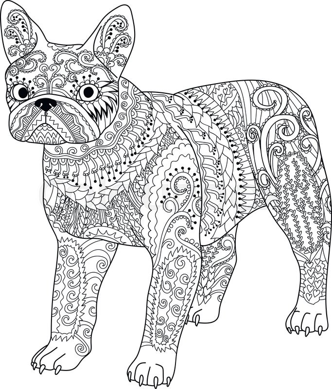 High detail patterned french bulldog in zentangle style