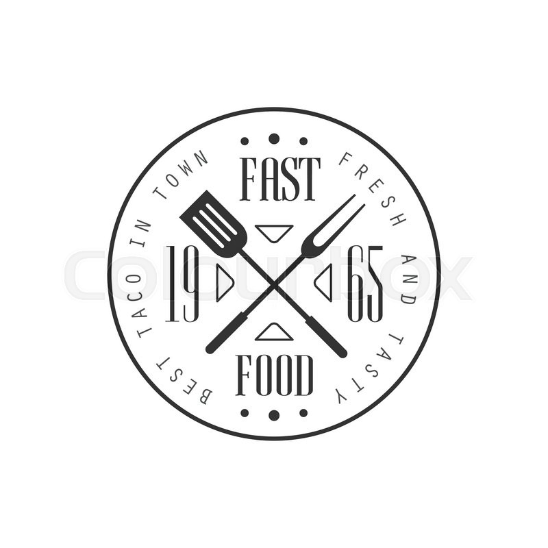 Fast Food Round Logo Graphic Design. Black And White