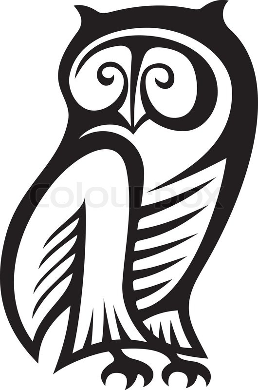 Black and white owl symbol of wisdom   Stock vector