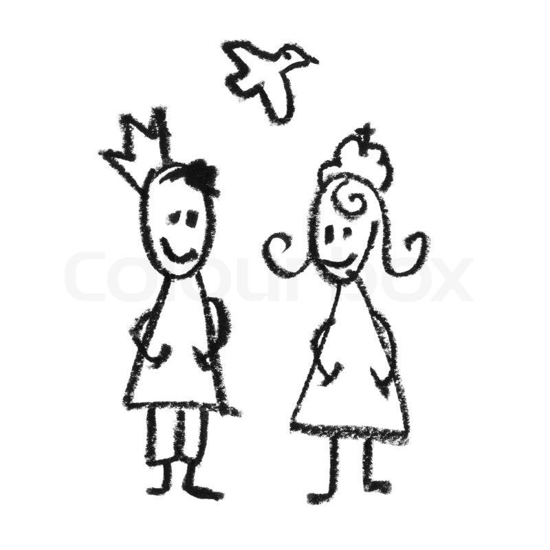 König und Königin mit fliegenden Taube doodles Zeichnung