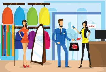 Fashionable Couple Buying Clothes Stock vector Colourbox