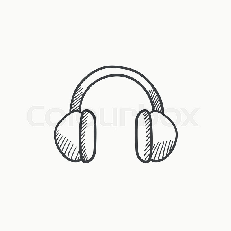 Headphone vector sketch icon isolated on background. Hand
