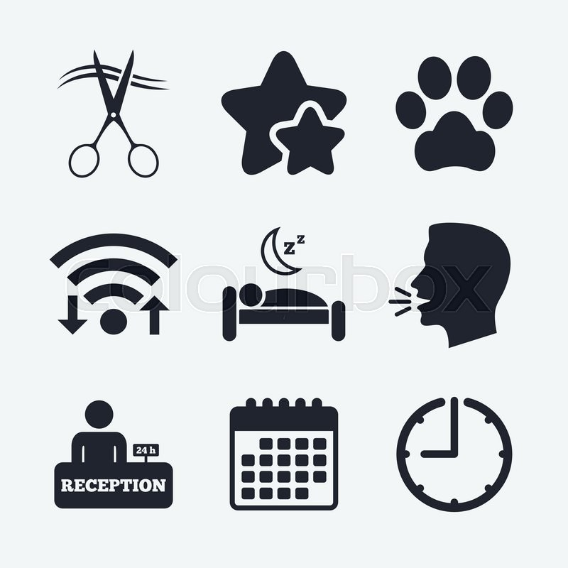 Hotel Services Icons With Pets Stock Vector Colourbox