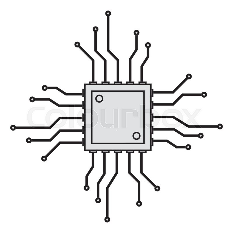 Flat design cpu circuit board icon vector illustration