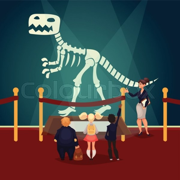 Kids In Museum Dinosaur . Stock Vector