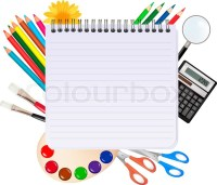 Back to school.Spiral notebook with school supplies ...