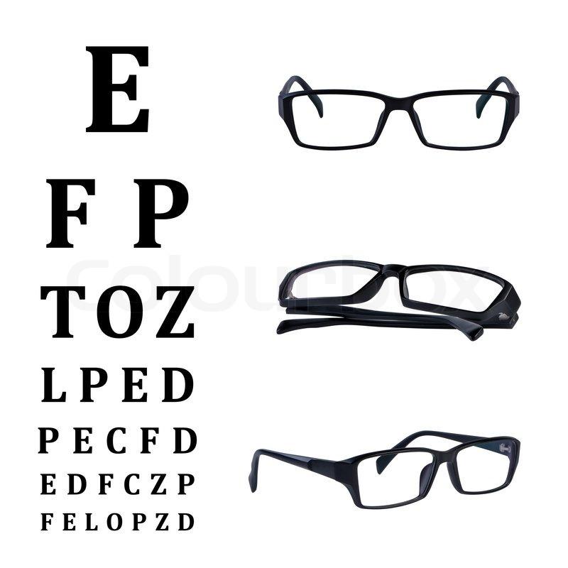 Eye glasses with eye chart isolated on white background