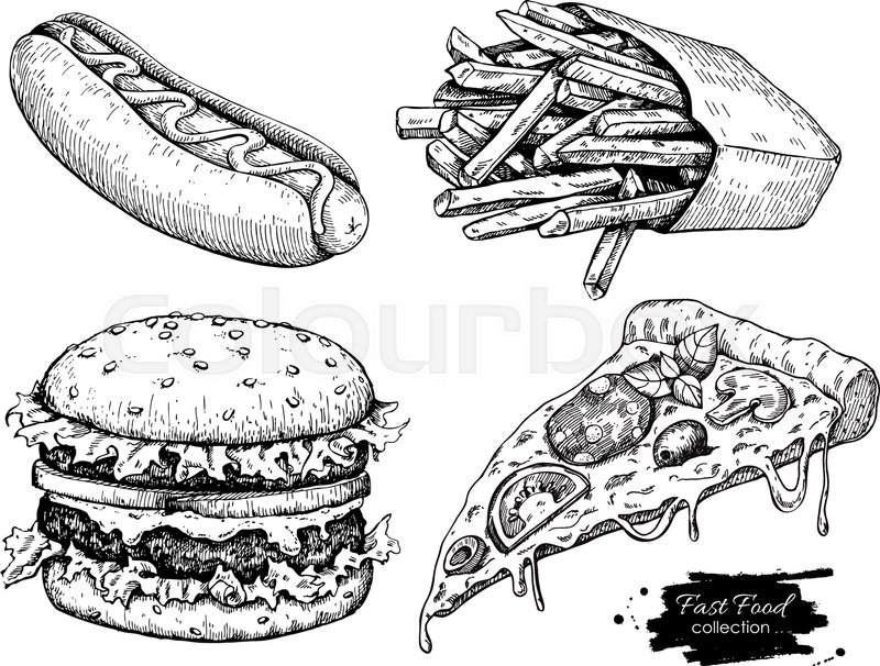 Vector vintage fast food drawing set. Hand drawn