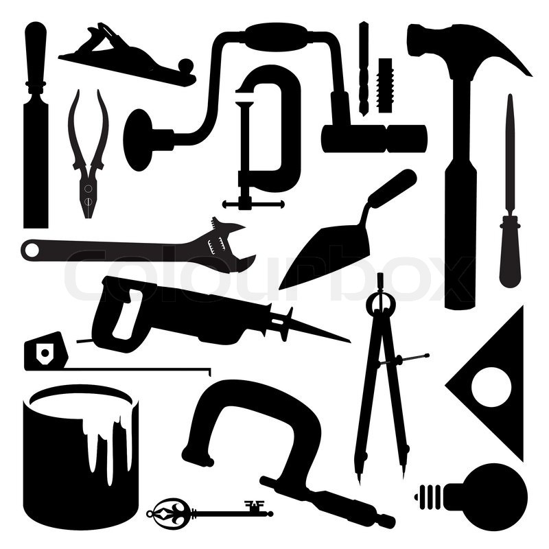 Vector images silhouettes of several kinds of tools