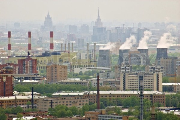 aerial view of city moscow russia