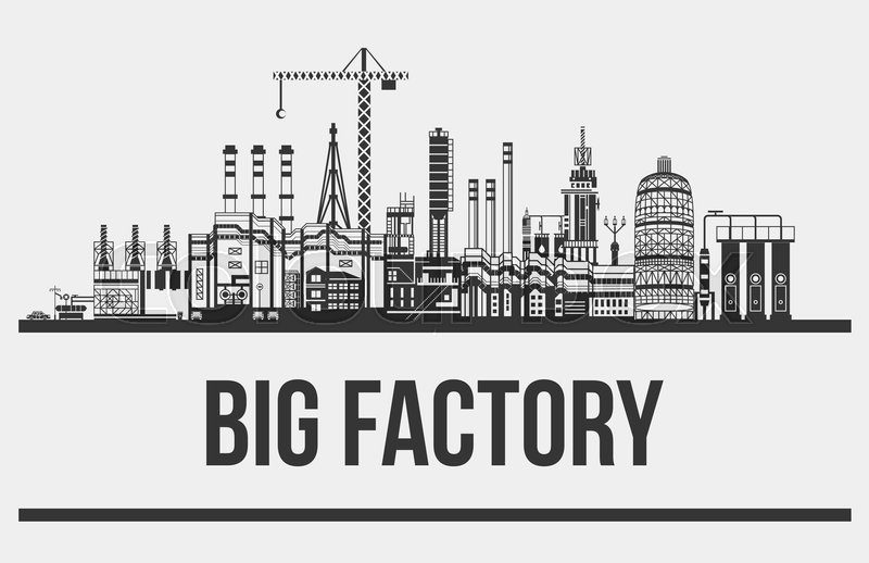 Silhouette of huge plant or factory, manufactory line