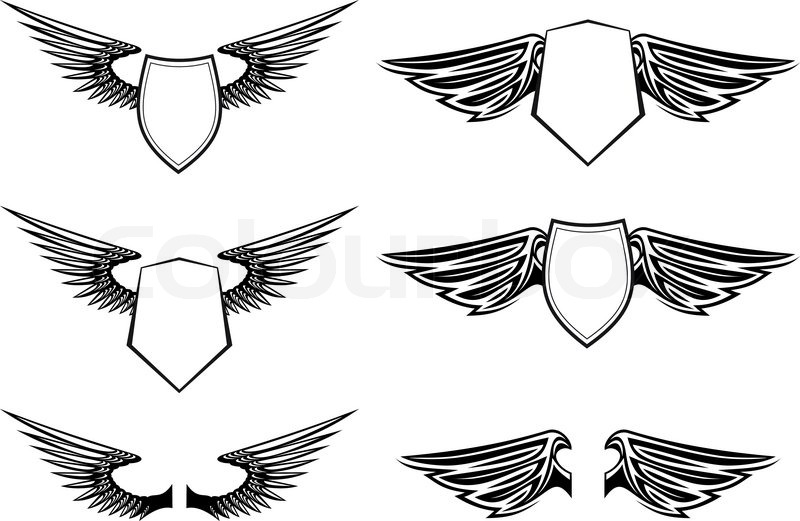 Heraldic wings with shields for design isolated on white
