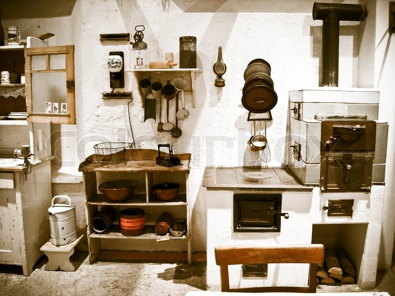 Old historical Kitchen equipment and utensils  Stock