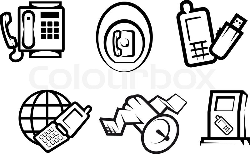 Set of communication and internet symbols for technology