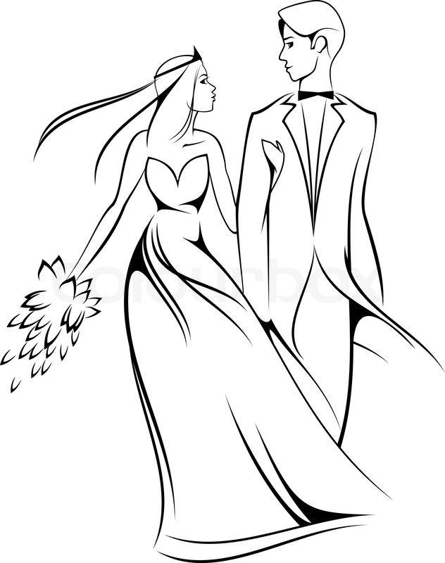Beautiful Bride In Wedding Dress Stock Vector